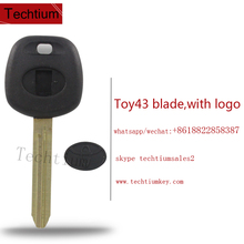 Plastic ABS transponder key for Toyota corolla camry G chip key blank fob case cover shell with printed logo TOY43 blade