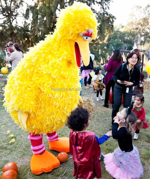 Lovely yellow mascot costume for kids/big bird mascot costume for kids