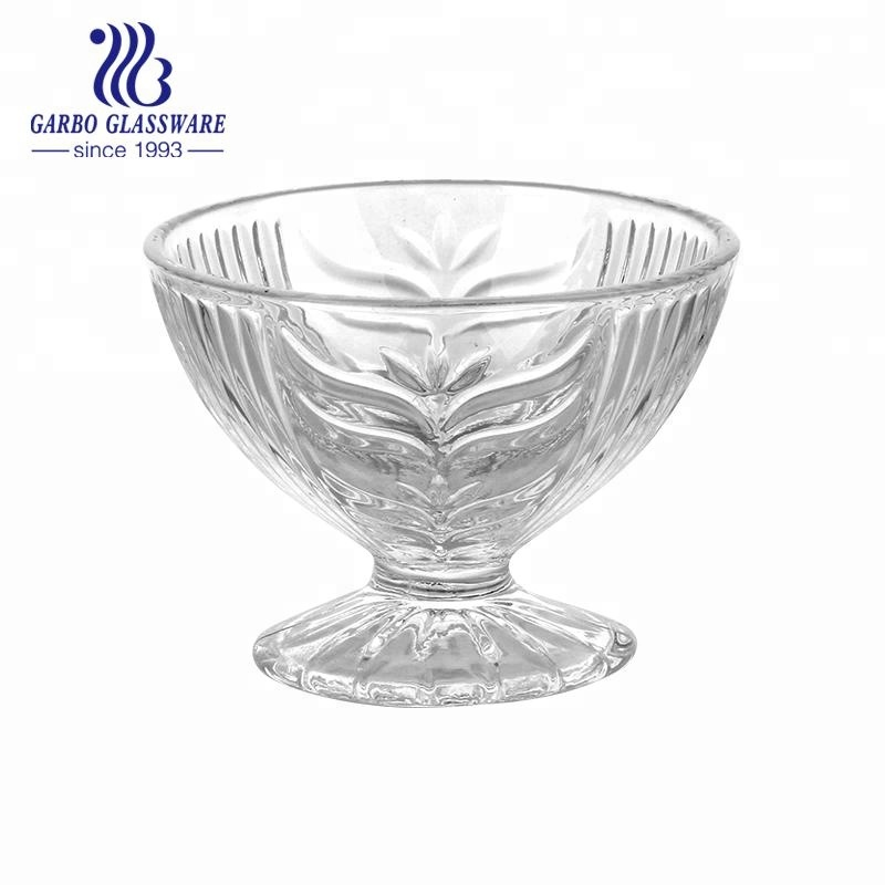 4inch glass ice cream cup engraved with flower design sundae