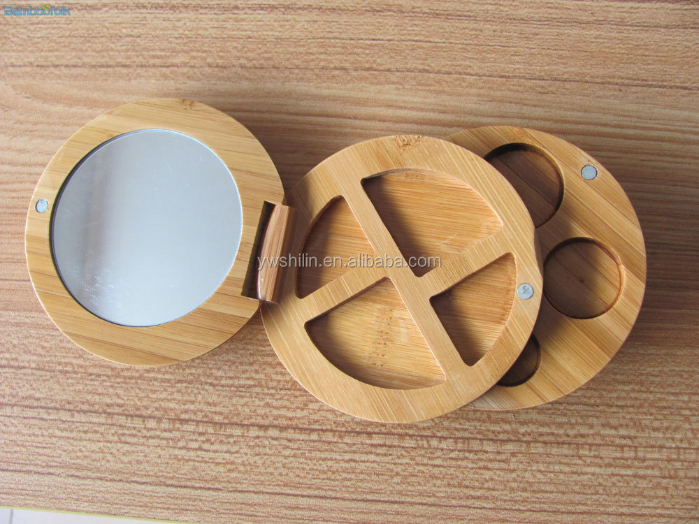 Newest design rotatable bamboo compact mirror