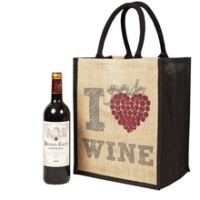 Wholesale jute wine bottle bag wine tote bag