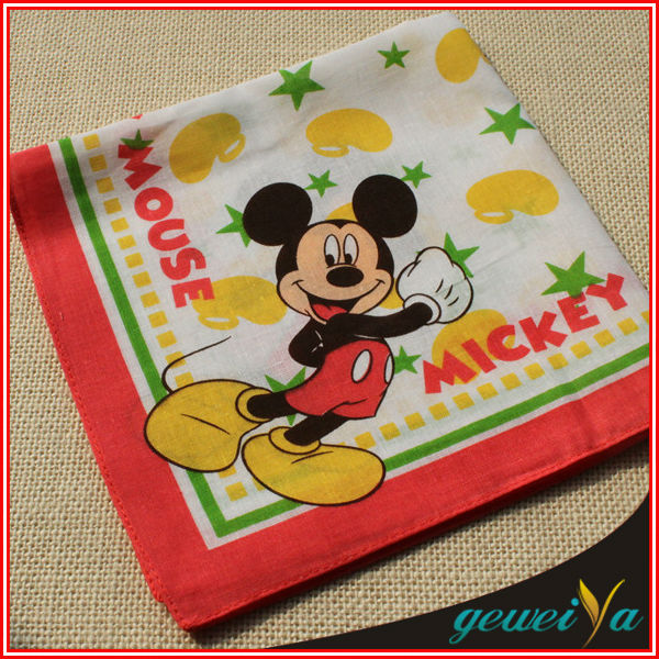 Cotton Cartoon Mickey Mouse Printed Children's Handkerchiefs