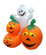 120cm/4ft inflatable white ghost and three pumpkins for halloween decoration