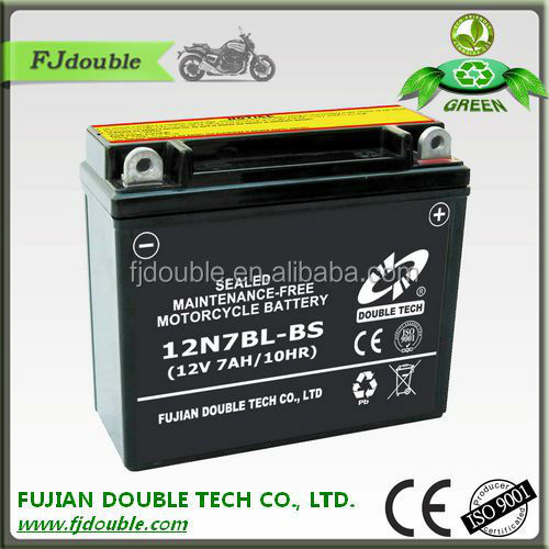 storage battery, starting 12N7BL-BS motor cycle battery, motorcycle parts