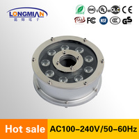 Factory Price ip68 ring dmx led fountain light rgb 9w 12w 12v ce submersible led pool light