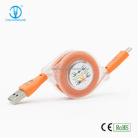 Smiley LED USB Charger Cable1M Flat Retractable USB Cable Charger With Your Logo