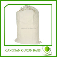 Manufactured cotton canvas drawstring laundry bag