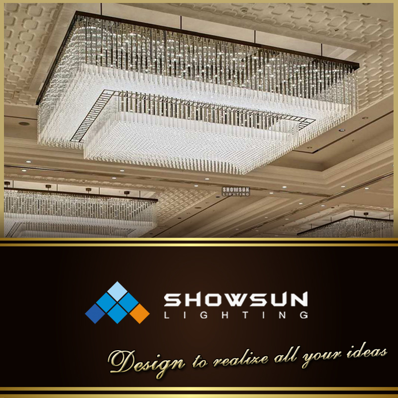 Custom-made 2 tiered crystal Beaded rectangular crystal ceiling lamp