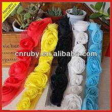 Shabby chiffon rose flower trim in various color