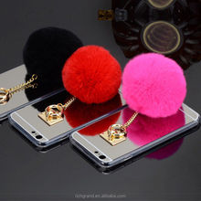 Luxury Metal Rope Rabbit Fur Ball Mirror TPU Phone Cases For iphone Mobile Phone Accessories
