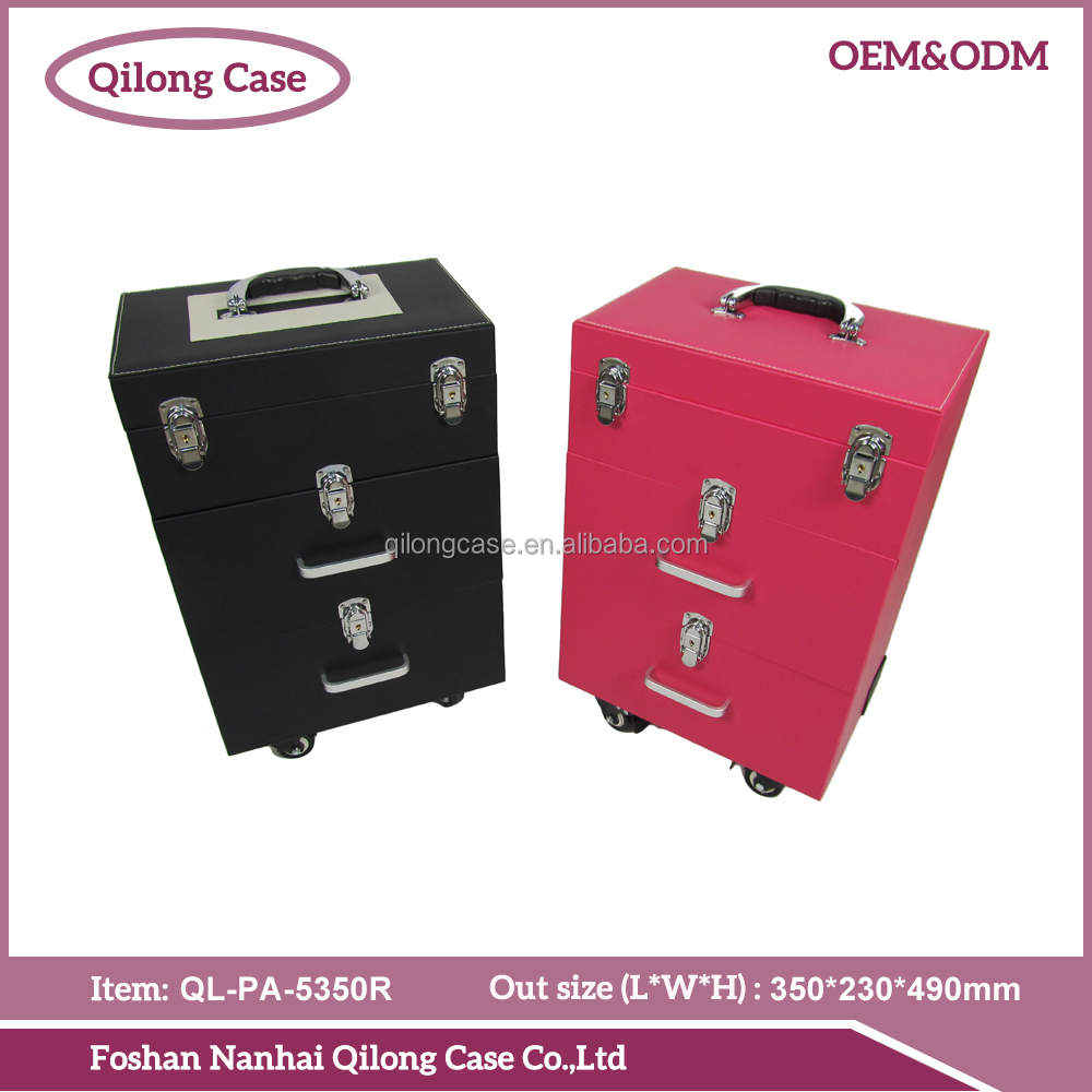 Pu Leather Professional Cosmetic Trolley Case