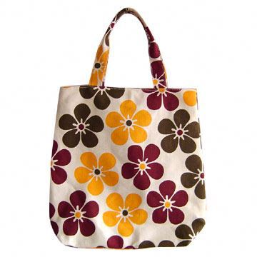 Durable flower printed canvas hobe bags