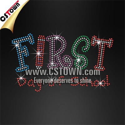 First day of school crystal letters t shirt wholesale strass hotfix rhinestone motif
