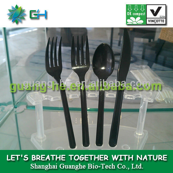 100% biodegradable PLA cutlery/utensil plastic spoon,pla fork, pla knife made from cornstarch