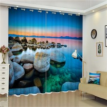 2018 3D Printed Ready Made 100% Polyester Fabric Window Curtains For Home