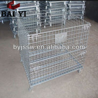 Industrial stackable storage wire mesh containers