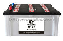 auto battery dry charged N120 12V120Ah car battery wholesale
