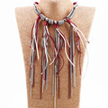 2017 new sliver plated chain design in alloy jewelry necklace with short tassels