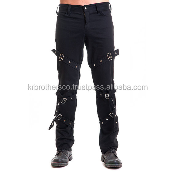 Black cotton straight fit slim male pants military punk goth studs