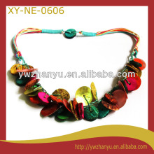 Fashion colorful hip hop flat round wooden necklace for party