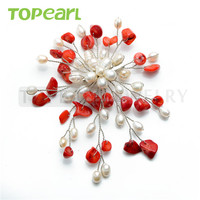 Freshwater White Pearl Brooch Red Coral