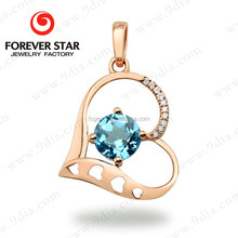 Alibaba Express 2017 Hot Sale Heart Pendant 14K Real Gold 1 Gram Gold Jewellery With Gemstone Blue Topaz