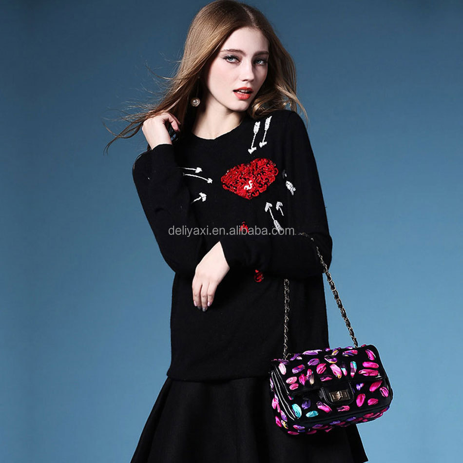Jacquard black pullover sweaters red beaded heart clothings pullovers outwear arrow embroidery sequins wool sweaters