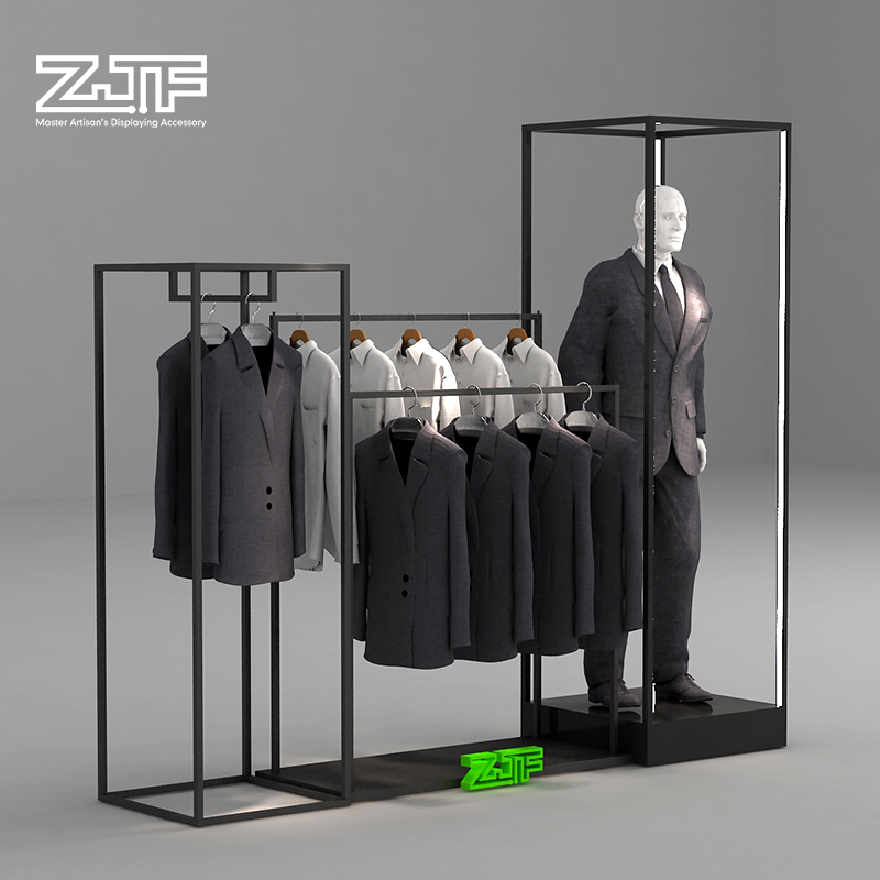 Luxury clothing mall promotion goods metal shelf rack <strong>display</strong> men's clothes <strong>display</strong> rack for retail clothes