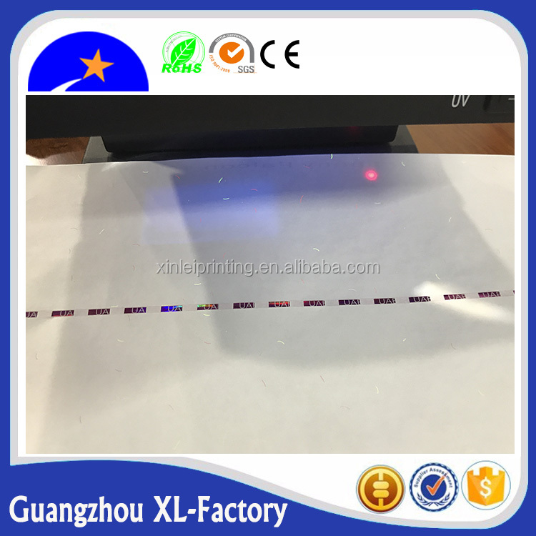 Hot sale high security watermark paper / security thread paper / security fiber paper in Xinlei brand