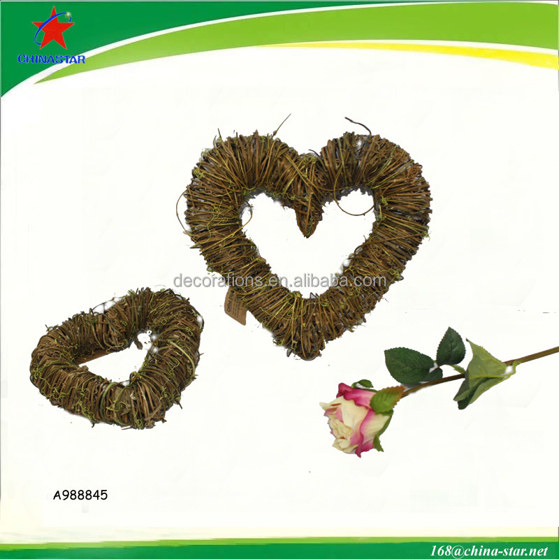 "9"" grapevine heart wreath for decoration"