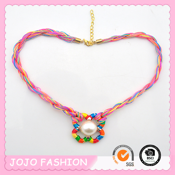 Folk Style Colorful Wax Cord String Crochet Necklace for Unisex