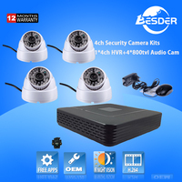 Promotion Products Home Security Camera System Video Surveillance Dome 800tvl H.264 4CH CCTV DVR Kits