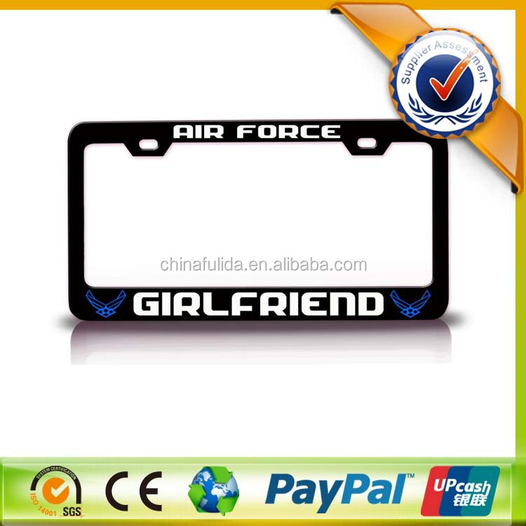 Black Metal Logo Design High Quality License Plate Frame for Car