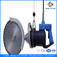 Cattle carcass quartering saw for beef cattle bovine meat processing plant