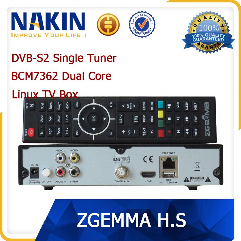 Original zgemma-star H2S Satellite TV Box Receiver BCM7362 Twin DVB S2 Tuner free to air Zgemma H.2S