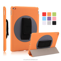 High Quality Tripled Folded 360 Degree Rotating Flip Cover Smart Magnetic Case for iPad Air 2 for iPad 6