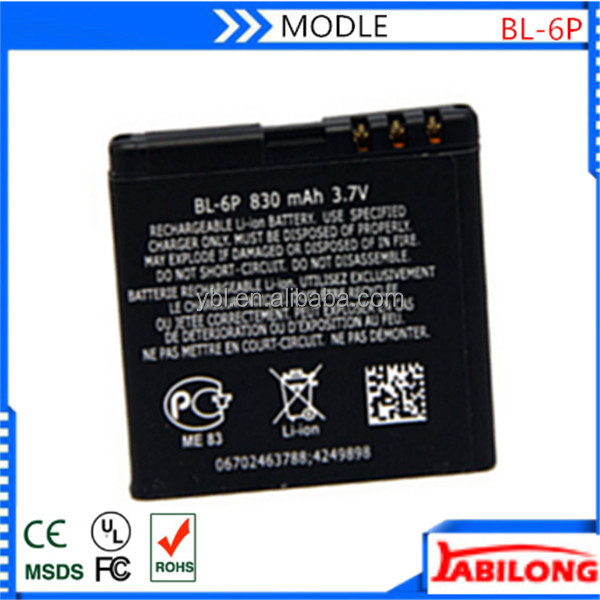 BL-6P Li-ion mobile phone battery for nokia 6500c 7900 Prism