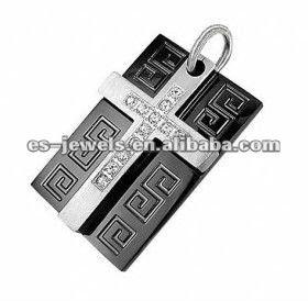 2017 Engravable Black Stainless Steel Dog Tag CZ Stone Cross Pendant