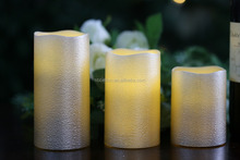 gold led flameless candle 3pieces real wax candles Chrismas decoration led candles