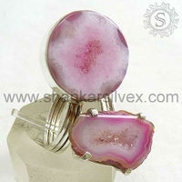 Wholesale Sterling Silver Jewelry, Indian Silver Jewelry, World Of Beauty Pink Drusy Sterling Silver Ring 0RNCB1705-20
