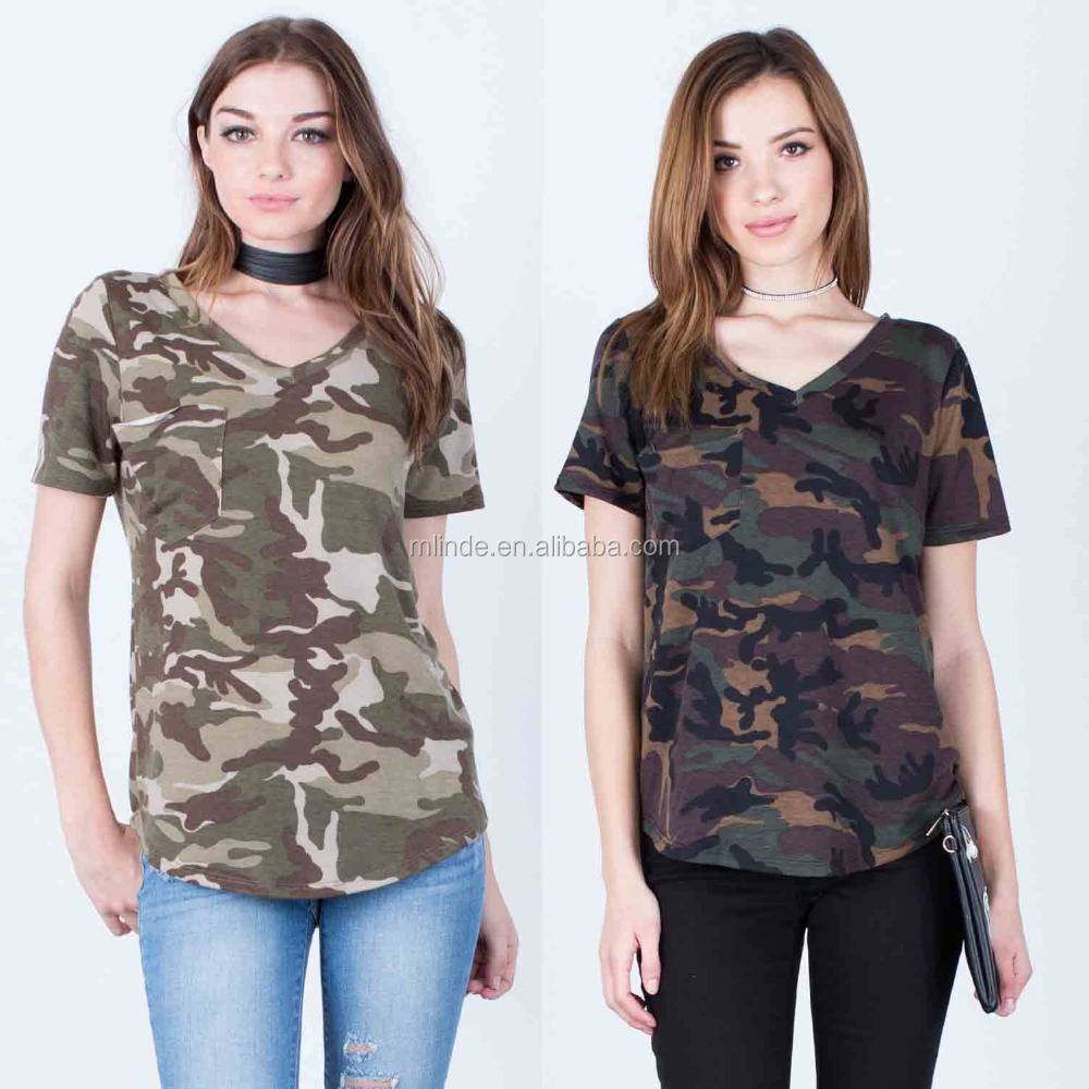Bulk Wholesale Camo T Shirts 97% Polyester 3% Spandex Short Sleeves V Neck Curved Hem All Over Camo Print Tshirt For Women