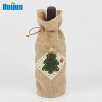 Creative designed jute Christmas wine personalized gift bags