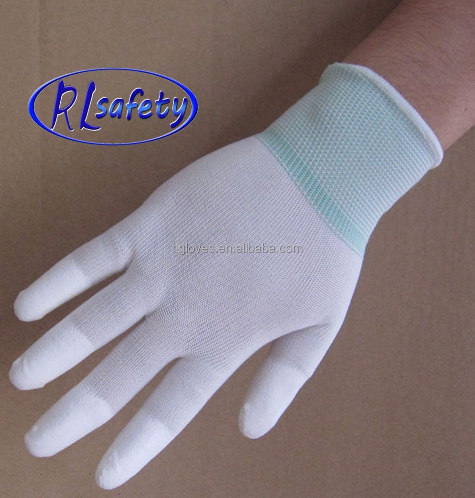 pu coated on finger tips, industrial working gloves/anti-static gloves
