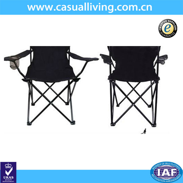 Black Foldable Camping Chair with Carry Bag & Drink Holder