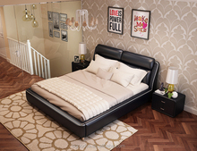Classic Black PU Leather Bed Soft Bed With Model Design from Factory