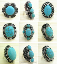 Wholesale Lots Vintage Tibet Silver Assorted turquoise adjustable Rings