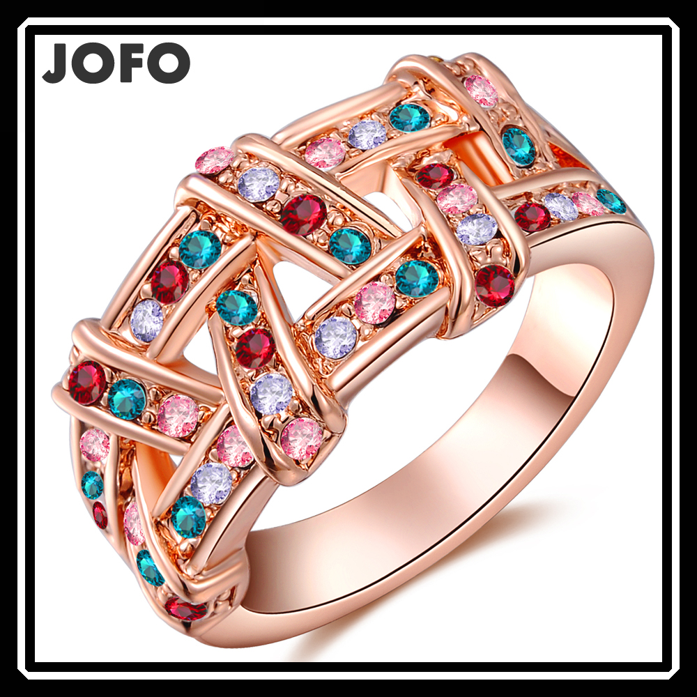 latest ring design best selling products Czech color diamond Rose gold braid wedding rings jewelry