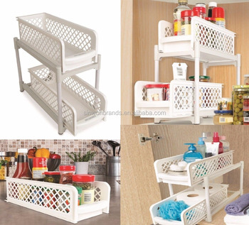 Kitchen Under Shelf Storage Basket - Bathroom Cupboard/Drawer Organiser Basket