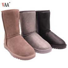 CF-196 Free Samples Winter Factory Ankle Length Genuine Leather And Lining Sheepskin Snow Woman Winter Shoes