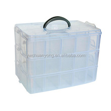 Cheap Large Adjustable 3 Layer 30 Compartment Clear Waterproof Plastic Storage Box